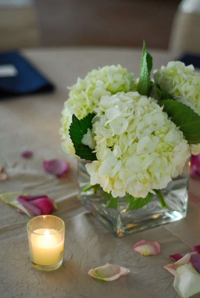 hydrangeas centerpieces votives wedding table