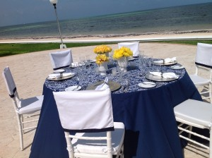 Palace Resort wedding guest table on the beach.